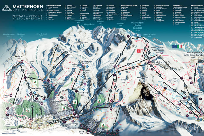 Zermatt Ski Resort Panoramic Piste Map Zermatt