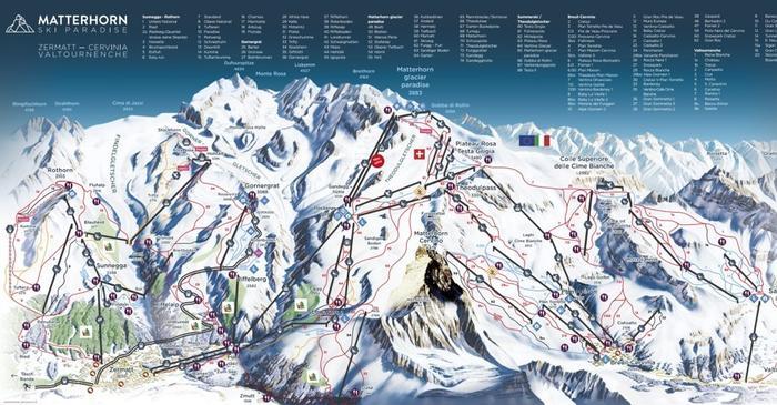 Matterhorn Ski Map Zermatt Ski Resort: Panoramic Piste Map Zermatt