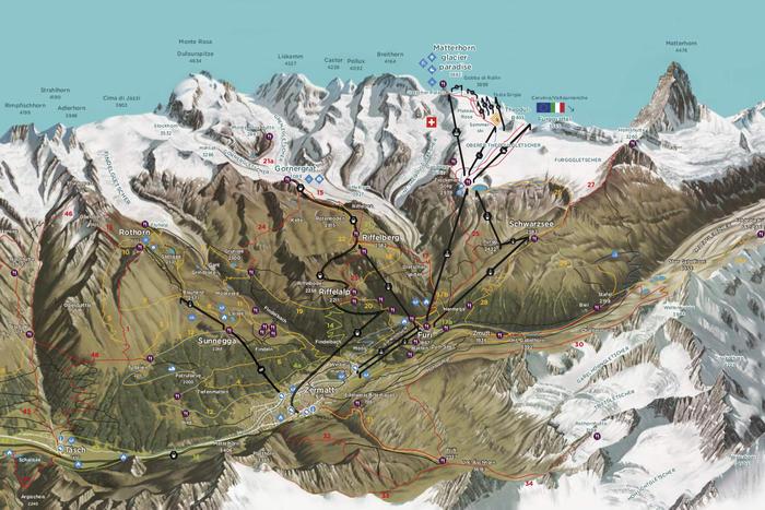 Summer panorama map of Zermatt Switzerland