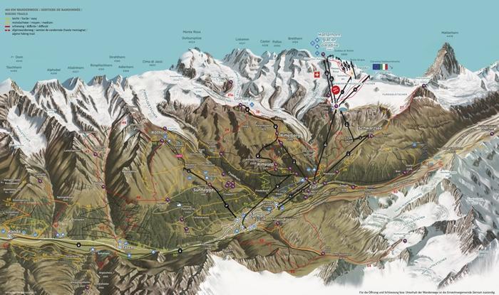 Summer panorama map of Zermatt, Switzerland on