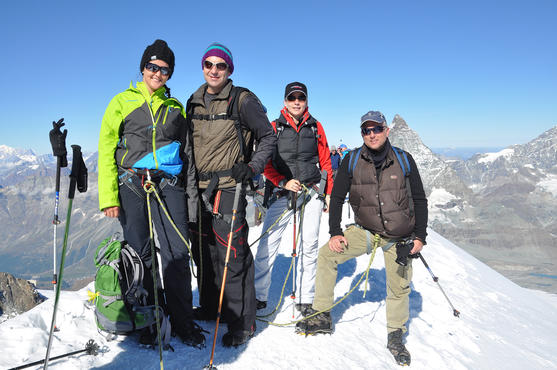 We did it! Tanja (left) and the rope team arrive at the top of the Breithorn.