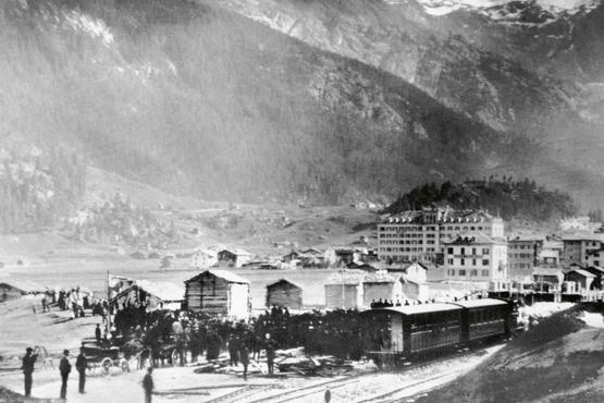 The first train arrives at the train station in Zermatt in July 1891.