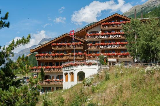 The Chalet Hotel Schönegg is located above Zermatt with a direct view of the Matterhorn.