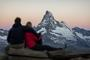 A sunrise on Rothorn with a view of the Matterhorn. The dream of every traveller in Switzerland.