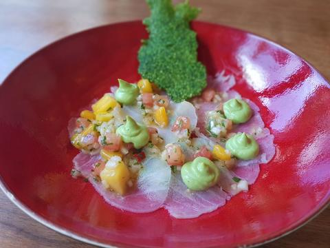 Ceviche of skrei coe, avocado creme and quinoa cracker