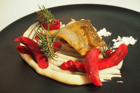 Preserved char, mashed potatoes with Zermatt mountain spruce