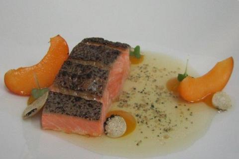Gently cooked salmon trout with Valais apricots and summer truffles